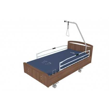 Lit à hauteur variable électrique BOX,avec roulettes, barrières et potence et freinage centralisé.Coloris Noyer.