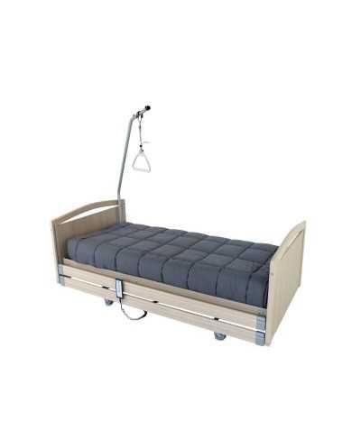 Lit à hauteur variable électrique CONFORT 2, chêne griséPanneaux de finition bois sur les côtés du lit.