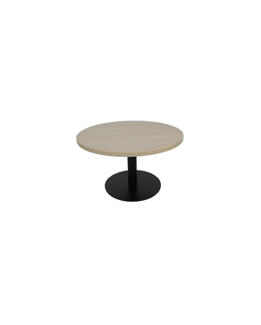 Table de salon ronde avec pied central, Æ 80 cm x 45 cm, chêne grisé