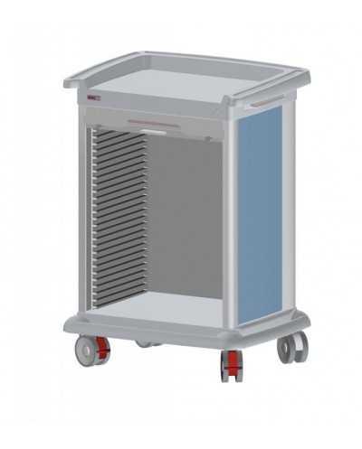 Chariot de distribution de médicaments PRECISO 9 modules, à aménager, hauteur 110 cm, coloris: alu.