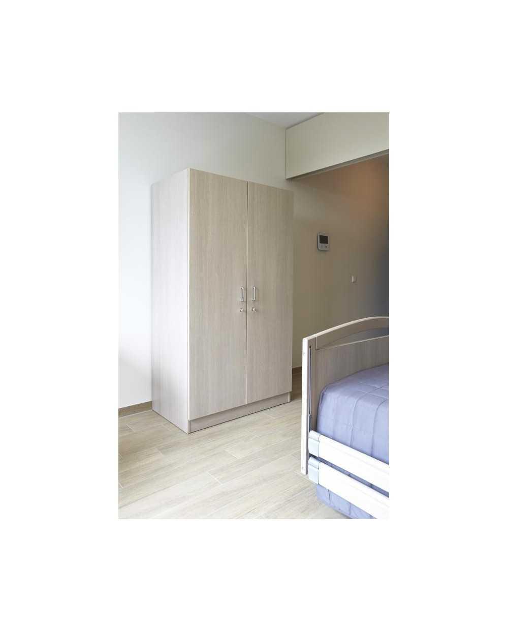 Garde-robe avec serrures, panneaux hêtre clair, 2 portes, 120 x 60 x 200cm.
