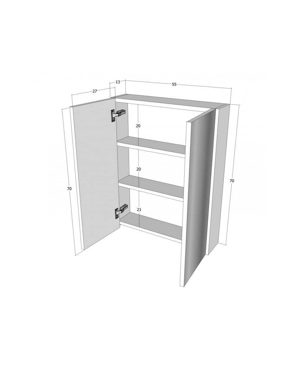 Meuble de salle de bain, 2 portes, 70 x 55 x 15 cm, blanc.