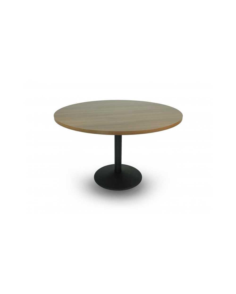 Table, ronde Æ 120 cm x 75,5 cm (hauteur), avec pied central, noyer.