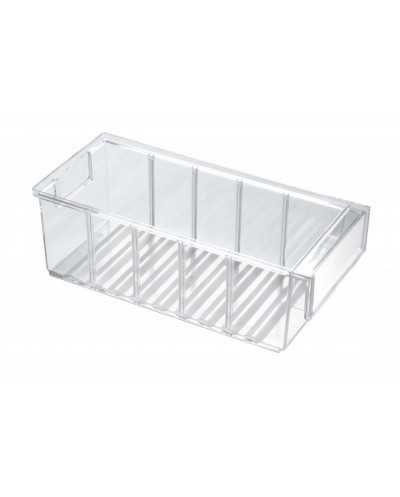 Bac de stockage avec poignée, 300 x 132 x 100 mm, transparent