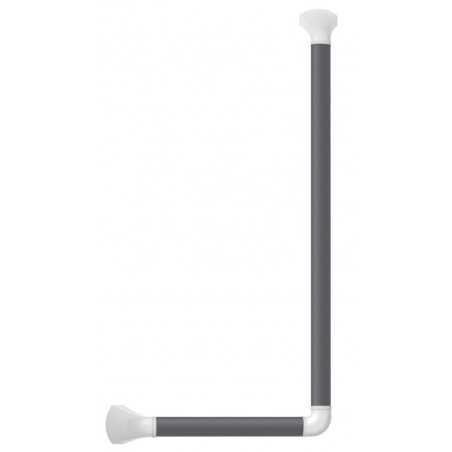 Barre d'appui 90° en aluminium anodisé gris noir (RAL 7021) et caches blanc mat, 60 x 30 cm, gauche/droite.