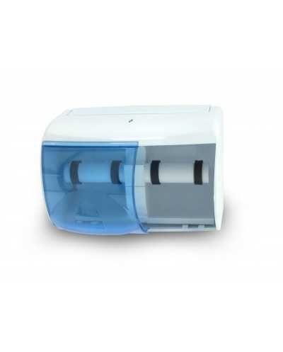 Distributeur plastique horizontal double pour papier hygiénique.