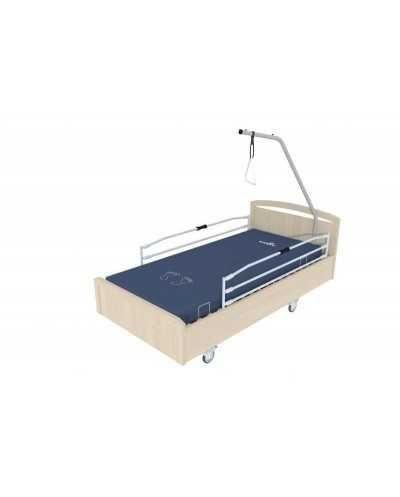 Lit BOX à hauteur variable électrique, avec roulettes, barrières et potence, coloris chêne grisé.