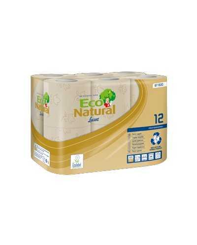 Papier hygiénique Eco Natural, 200 coupons, 2 plis, naturel.Ballot de 8 paquets de 12 rouleaux