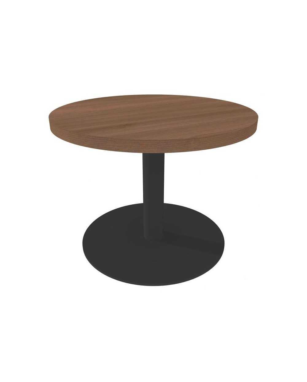 Table de salon ronde avec pied central, Æ 60 cm x 45 cm, noyer.