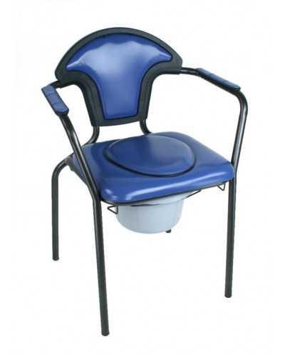 Chaise hygiénique fixe, avec tampon, vinyle bleu.