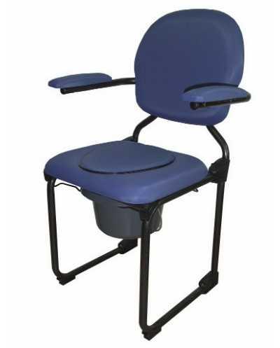 Chaise hygiénique pliante, vinyle bleu.