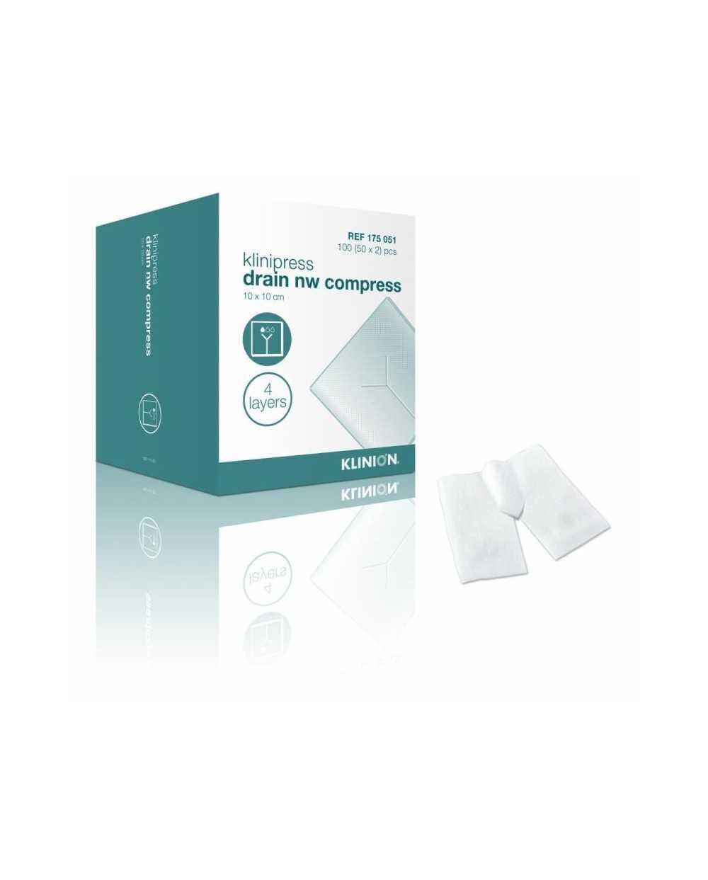 Compresses fendues en non tissé Klinion, 5 x 5 cm, stérileBoite de 50 x 2