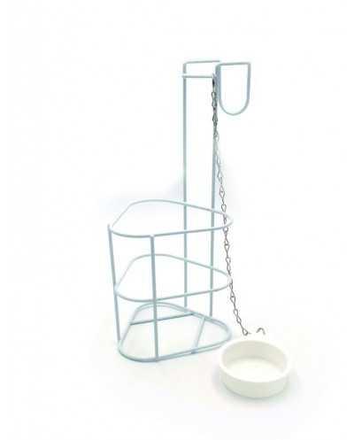 Porte-urinal, métal blanc, avec bouchon