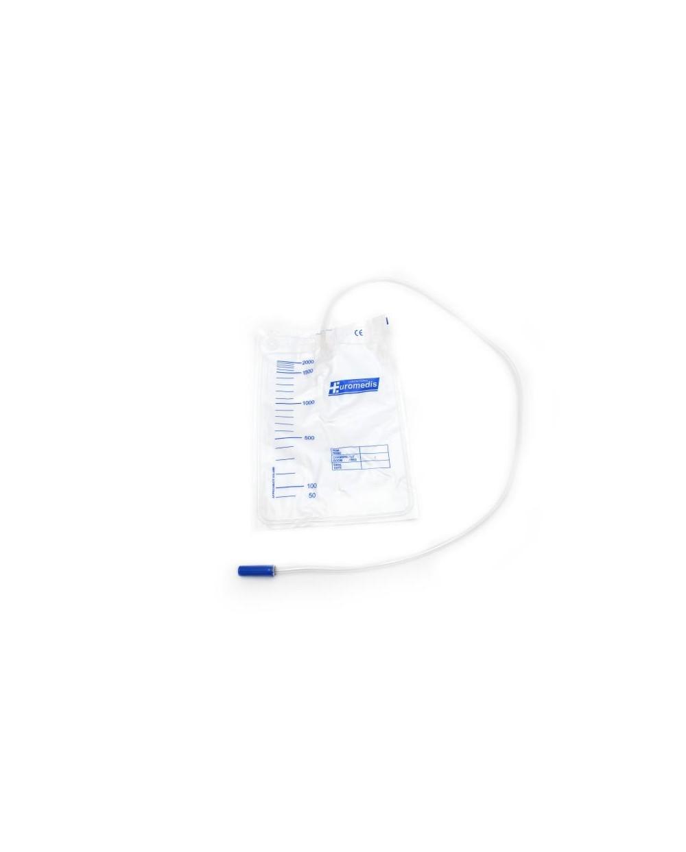Sac à urine, 2 litres, gradué, avec valve anti-reflux, tube 90 cm.