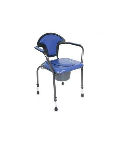 Chaise hygiénique réglable en hauteur, avec tampon, vinyle bleu.