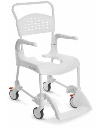 Chaise roulante de douche Etac Clean, hauteur 55 cm, blanc.