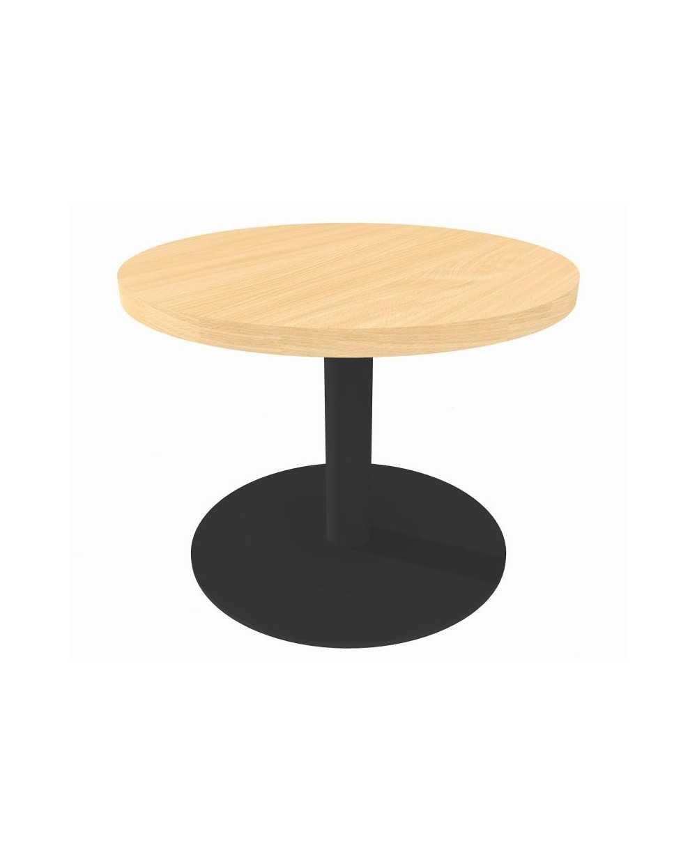 Table de salon ronde avec pied central, Æ 60 cm x 45 cm, hêtre.