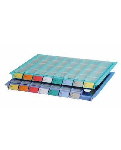 Plateau avec 8 piluliers, couleur : bleu.