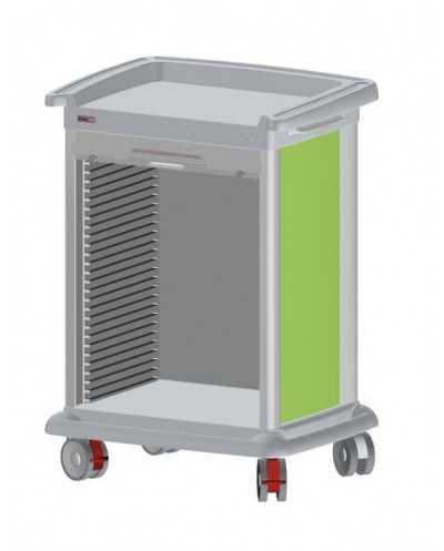 Chariot de distribution de médicaments PRECISO 9 modules, à aménager, hauteur 110 cm, de couleur.