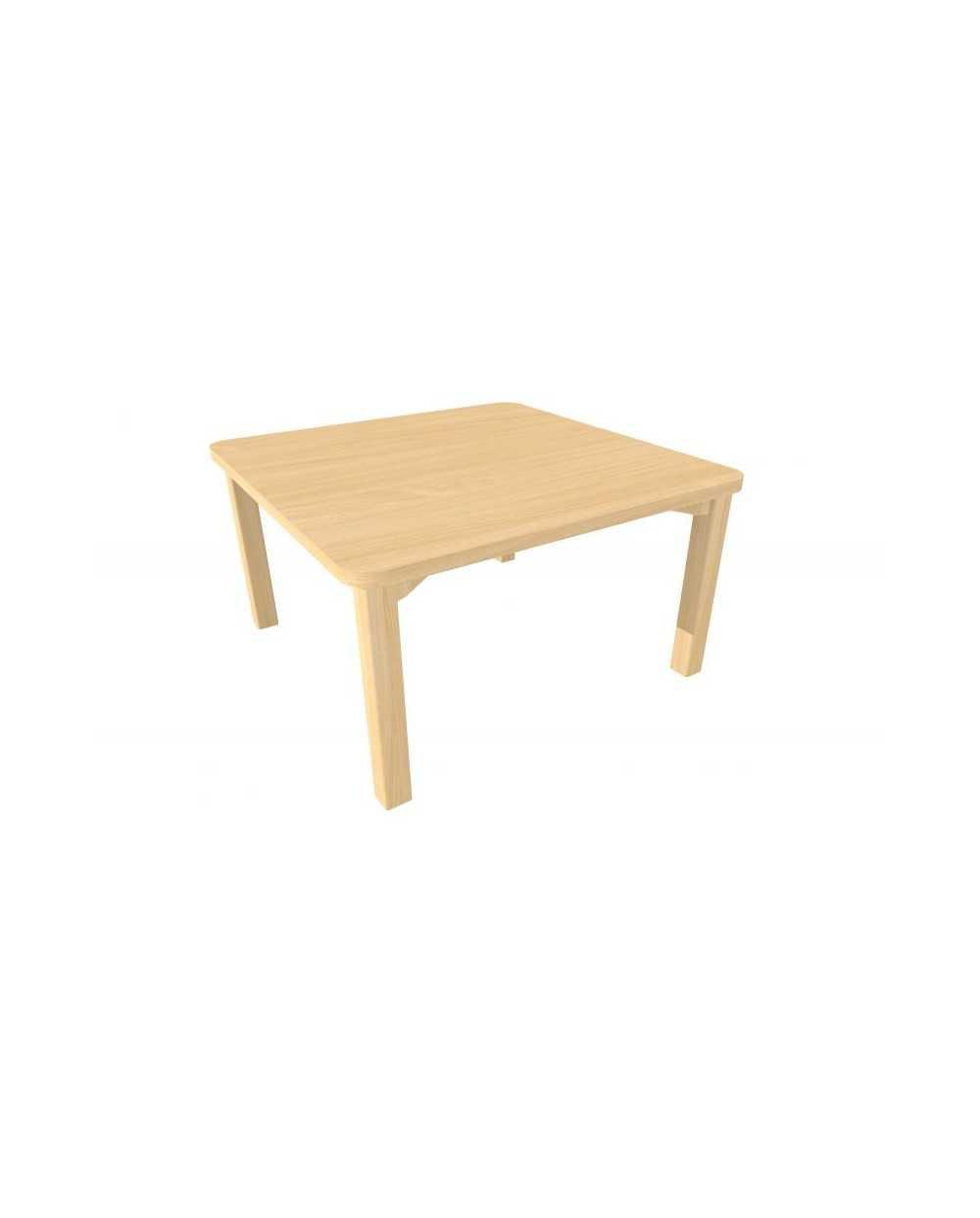 Table de salon, 80 x 80 x 45 cm, hêtre.