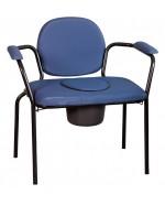"""Chaise hygiénique fixe """"personne forte"""", vinyle bleu."""