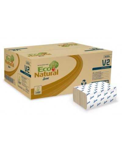 """Essuie-mains, Eco Natural, """"V2"""", pliage en """"Z-Z"""", 21 x 21 cm, naturel.Carton de 3800"""
