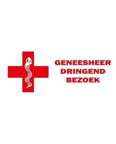 """Plaque """"Dringend Bezoek"""", rouge - NL."""