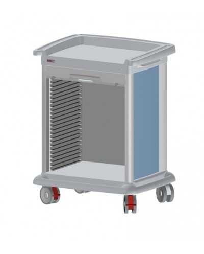 Chariot de distribution de médicaments PRECISO 8 modules, à aménager, hauteur 102 cm, coloris: alu.