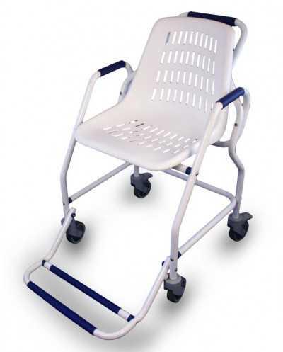 Chaise roulante de douche, époxy, blanc.