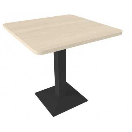 Table avec pied central, avec coins arrondis, chêne grisé.