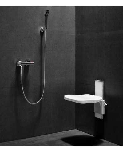 Siège de douche réglable en hauteur, blanc