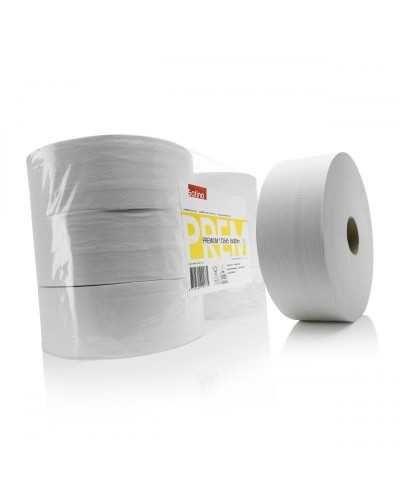 Papier hygiénique, 380 mètres, 2 plis, blanc.Ballot de 6 bobines