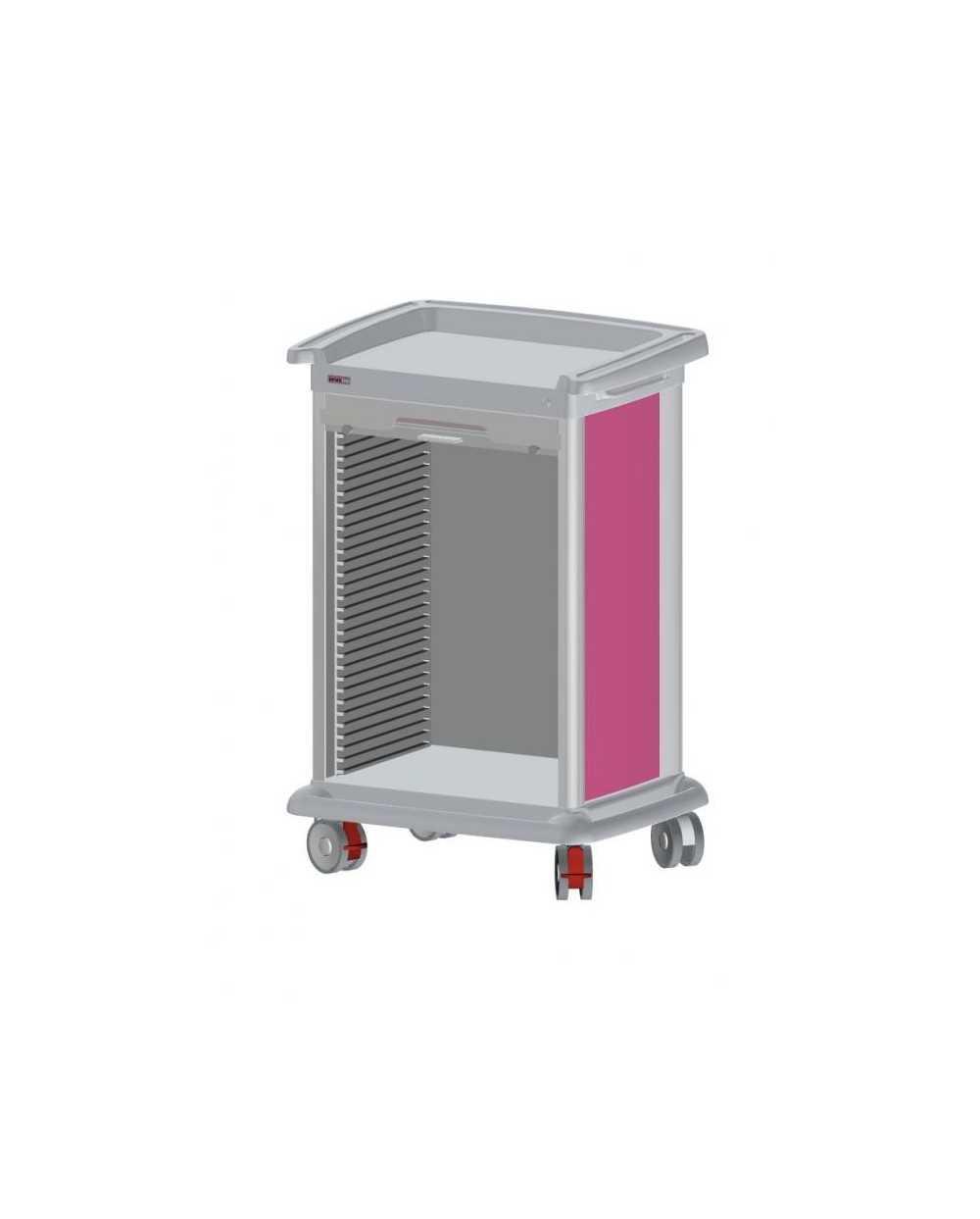 Chariot de distribution de médicaments PRECISO 10 modules, à aménager, hauteur 118 cm, de couleur.