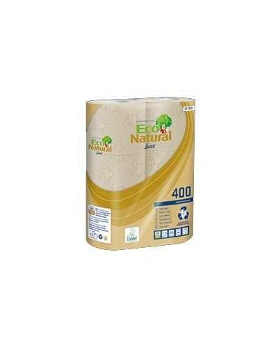 Papier hygiénique Eco Natural, 400 coupons, 2 plis, recyclé, naturel.Ballot de 5 paquets de 6 rouleaux
