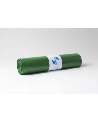 Sacs poubelle, 70 x 110 cm, +/- 120 litres, vert.Carton de 10 rouleaux de 25