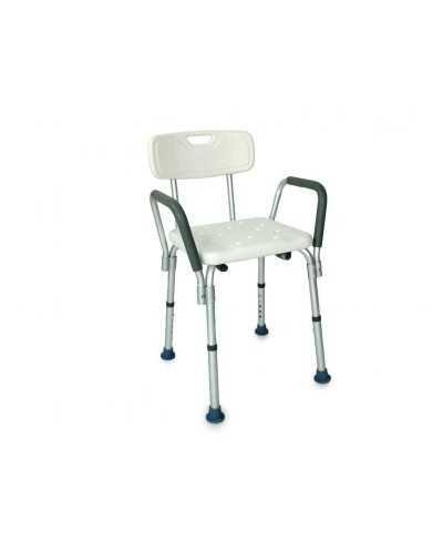Chaise de douche avec accoudoirs amovibles, réglable en hauteur.