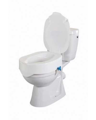 Rehausse-wc avec molette de réglage + couvercle, hauteur 15 cm.