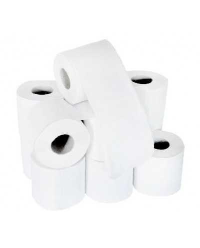 Papier hygiénique, 200 coupons, 2 plis, blanc, micro-gaufré.Ballot de 8 paquets de 12 rouleaux