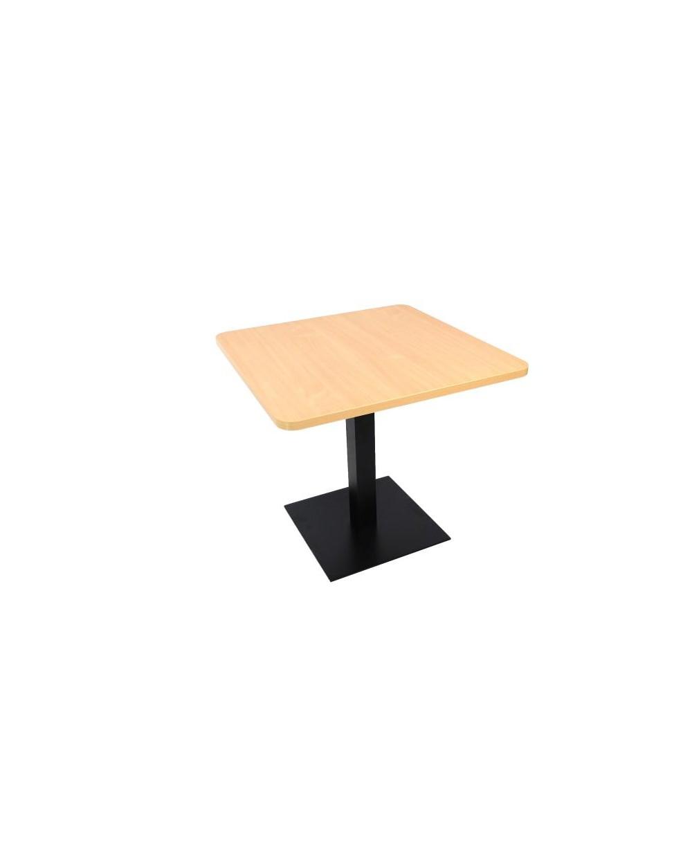 Table carrée avec pied central, avec coins arrondis, hêtre.