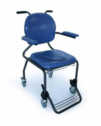 Chaise hygiénique avec roulettes, vinyle bleu.