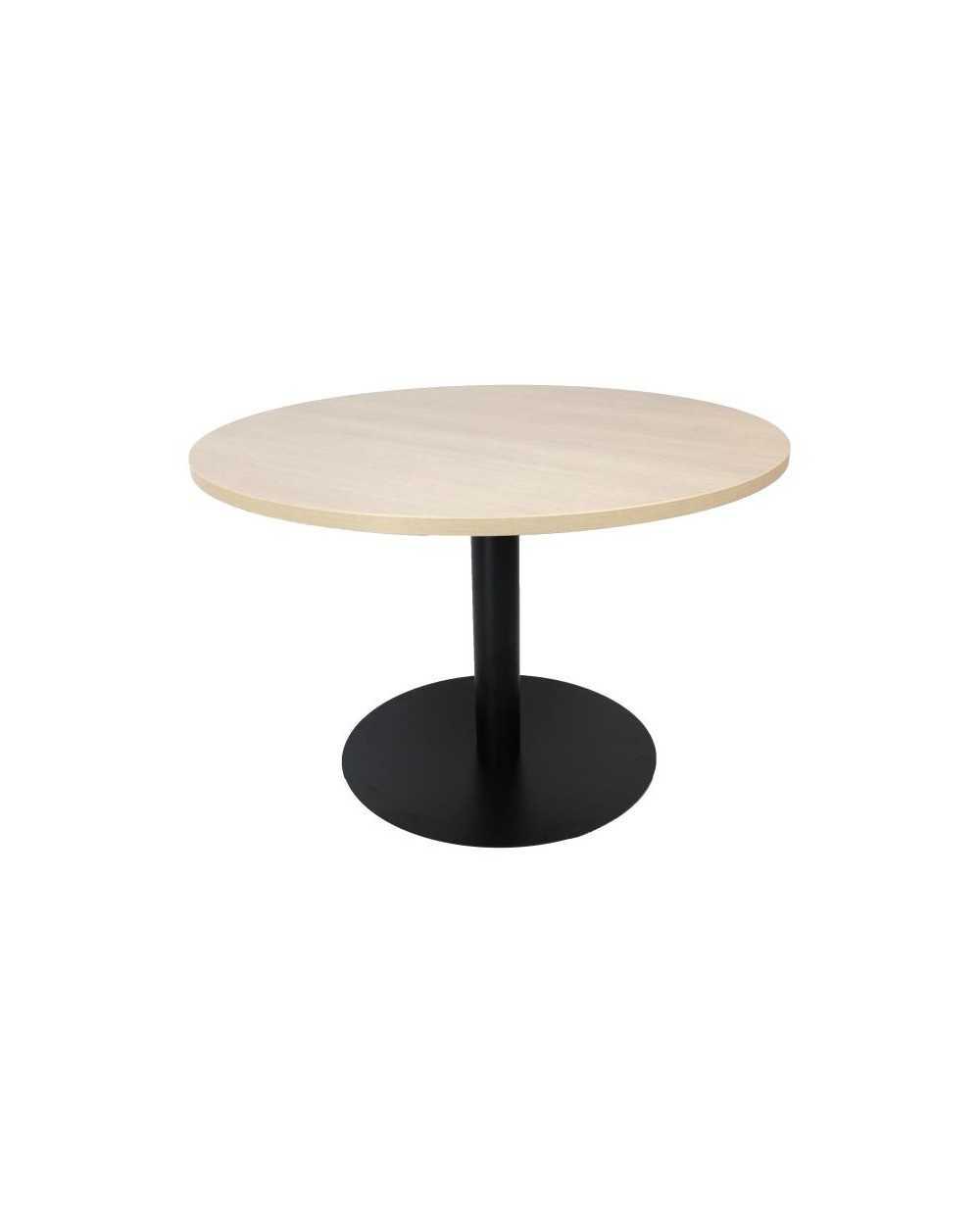 Table, ronde Æ 120 cm x 75,5 cm (hauteur), avec pied central, chêne grisé.