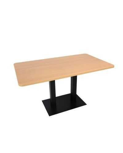 Table rectangulaire avec pied central, avec coins arrondis, hêtre.