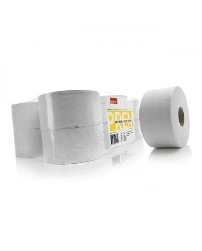 Papier hygiénique, 180 mètres, 2 plis, prédécoupé, blancBallot de 12 bobines