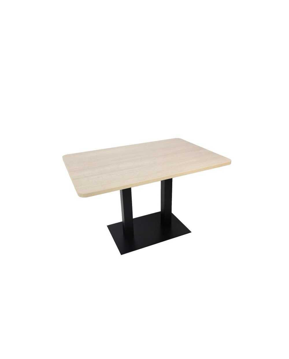 Table rectangulaire avec pied central, avec coins arrondis, chêne grisé.