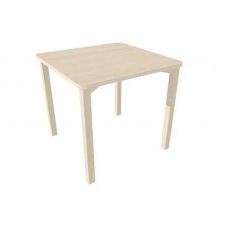 Table, avec coins arrondis, 80 x 80 x 75,5 cm (hauteur), chêne grisé.