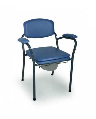 Chaise hygiénique fixe avec seau ergonomique, vinyle bleu.