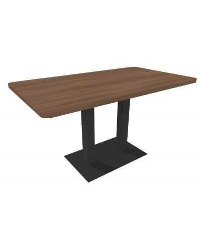 Table rectangulaire avec pied central, avec coins arrondis, noyer.