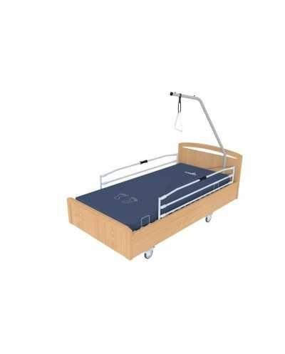 Lit BOX à hauteur variable électrique, avec roulettes, barrières et potence, coloris Hêtre.