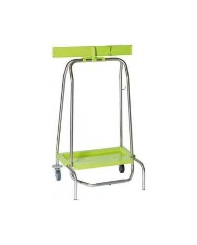 Support simple pour sac poubelle WASTY, avec pédale, 2 pieds fixes et 2 roues.