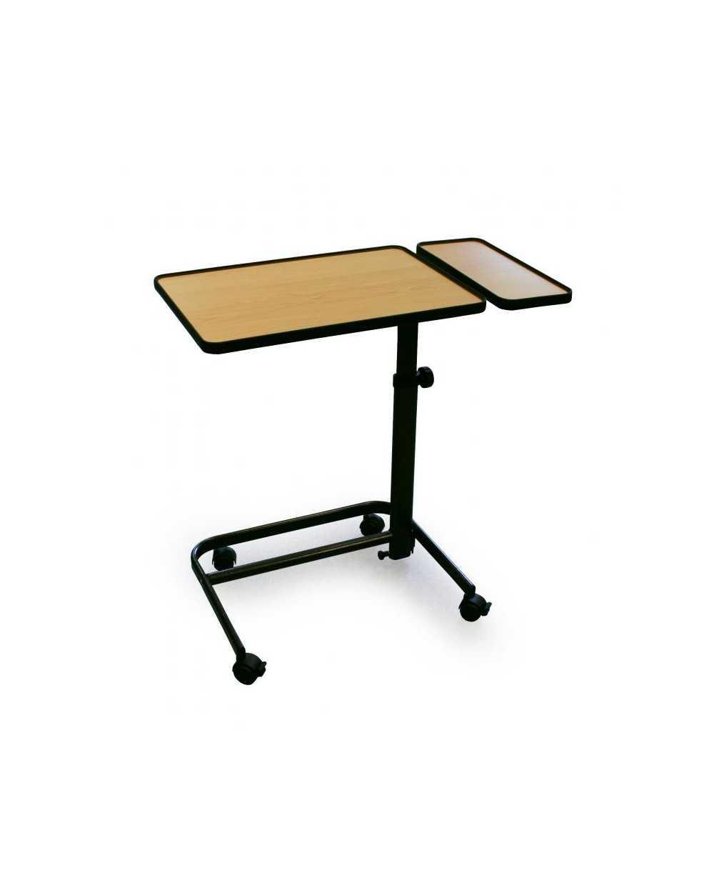 Table à manger au fauteuil avec tablette latérale fixe. Coloris : Hêtre.